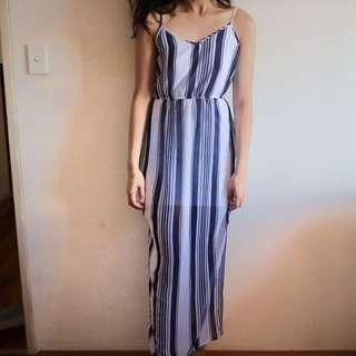 Blue Maxi Stripe Dress