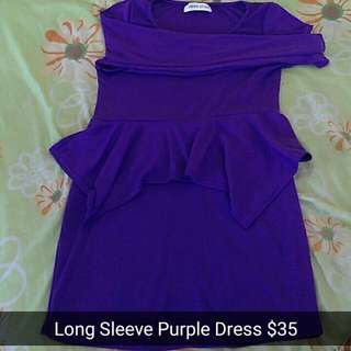 Long sleeve Purple Dress
