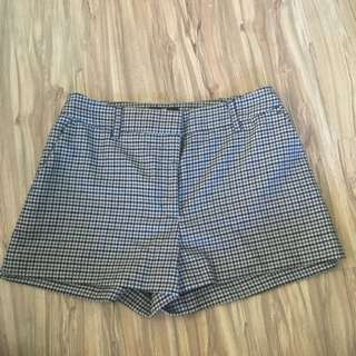🚚 H&M 毛呢 千鳥格紋咖啡色系短褲