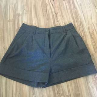 🚚 H&M 冬季 深灰色毛呢短褲