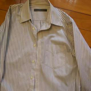 GIORDANO白色條紋男襯衫