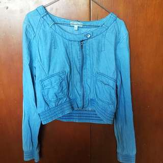 Crop Denim Jacket - L