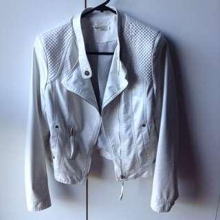 White Synthetic Leather Jacket
