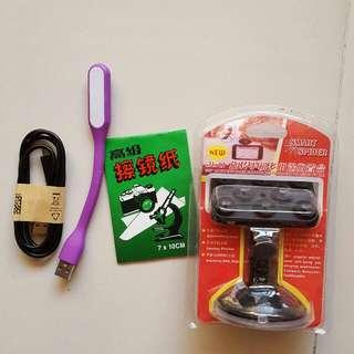 手機架,擦鏡紙,傳輸線,USB燈