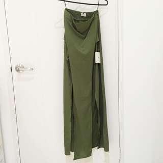 BRAND NEW Military Green High Waisted Double Split Maxi Skirt