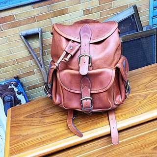 真皮國外厚皮手工製後背包包 30.34公分