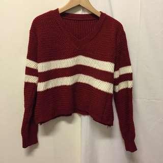 紅色條紋針織衫