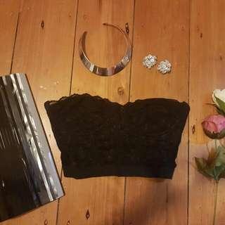 Black Lace Bralette Crop Bra