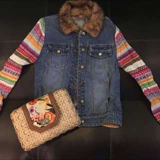 Denim Jacket With Knit Sleeves And Fur Collar