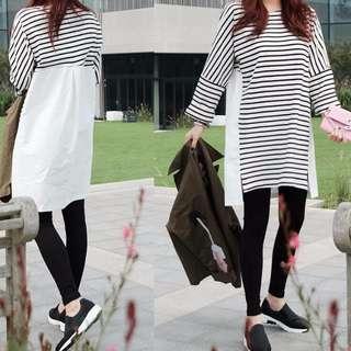 條紋拼接長袖連衣裙(單色黑白條)
