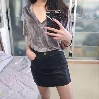 A Line PU leather Skirt