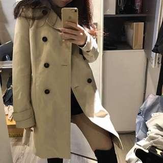 全新Zara米色雙排釦風衣外套XS