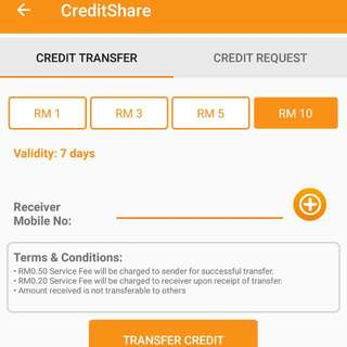 U Mobile Topup RM10 for RM8 Only (Credit Transfer)