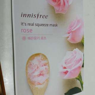 Innisfree It's Real Squeeze Mask玫瑰補水面膜