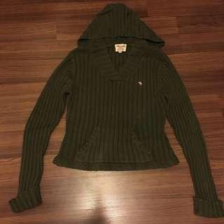 Abercrombie&Fitch墨綠色針織帽T