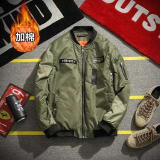 👑加大尺碼 棒球領繡標棉空軍外套