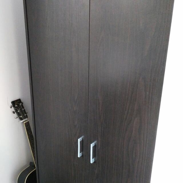 2 Door Robe Black / Brown Wardrobe