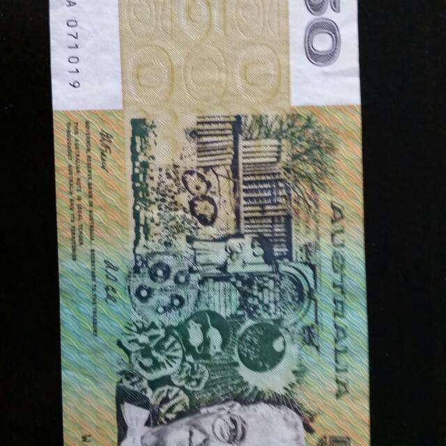 $50 Note With Print Error On Reverse Side
