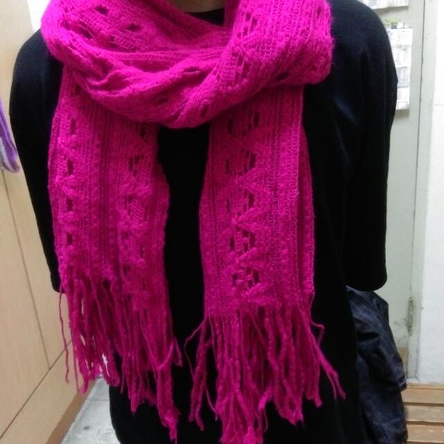 桃紅針織圍巾