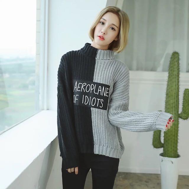 自留款👑拼色高領字母貼布毛衣