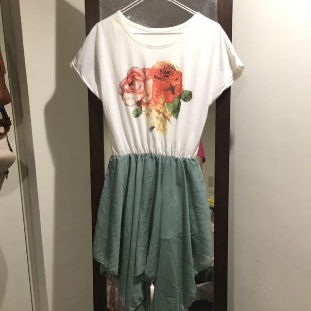 花朵雪紡下擺洋裝