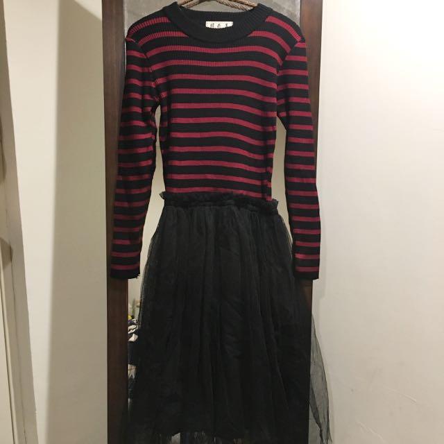 拼接條紋紗裙針織洋裝