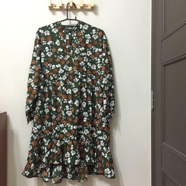 (已幫hsins1993保留)綠碎花魚尾洋裝