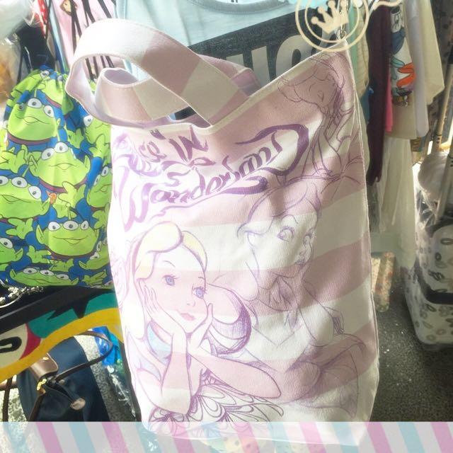 出清 美國迪士尼 愛麗絲夢遊仙境 帆布肩背包 手提包 斜背包