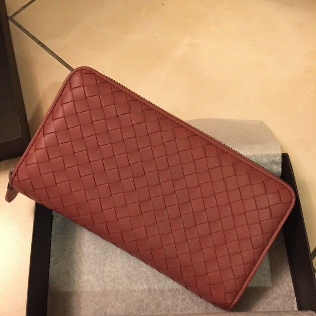 正品全新BV莓紅色 Bottega Veneta 長夾