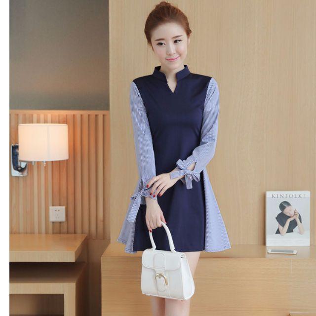 條紋拼接假兩件A字長袖連衣裙(單色藍色)