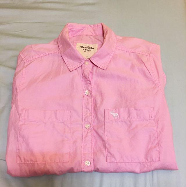 💕A&F 粉色襯衫