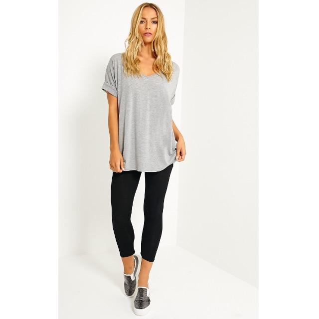 Basic Black Cropped High Waisted Jersey Leggings