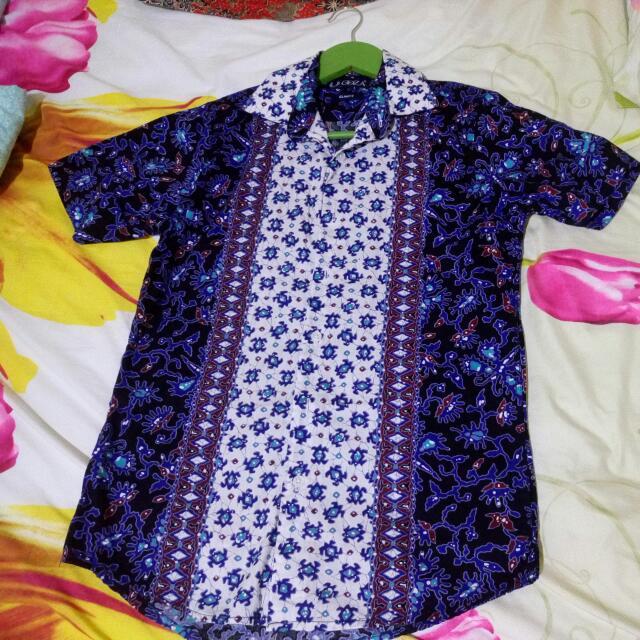 Batik Kemeja Biru Slim Fit M Kecil