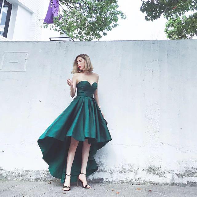 Beeyourself 復古綠緞面平口前短後長禮服