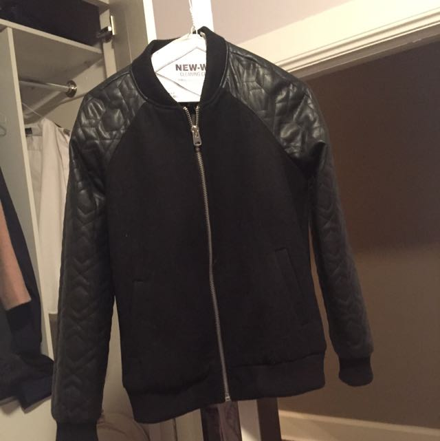 black bomber leather