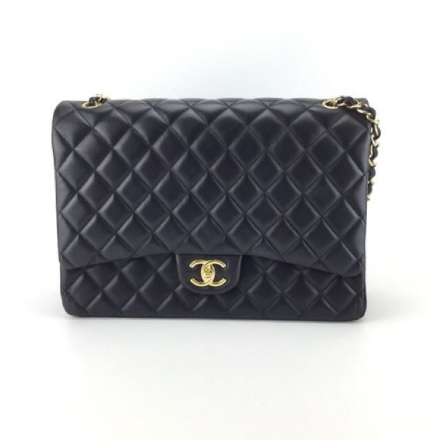 794354c0b4db CHANEL] Authentic Black Maxi Lambskin Classic Double Flap Bag ...