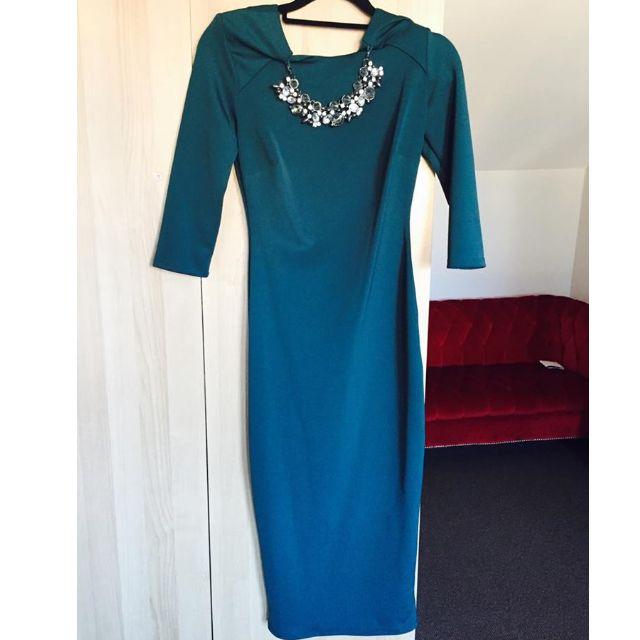 Embellished Neckline Green New Look Dress UK 8