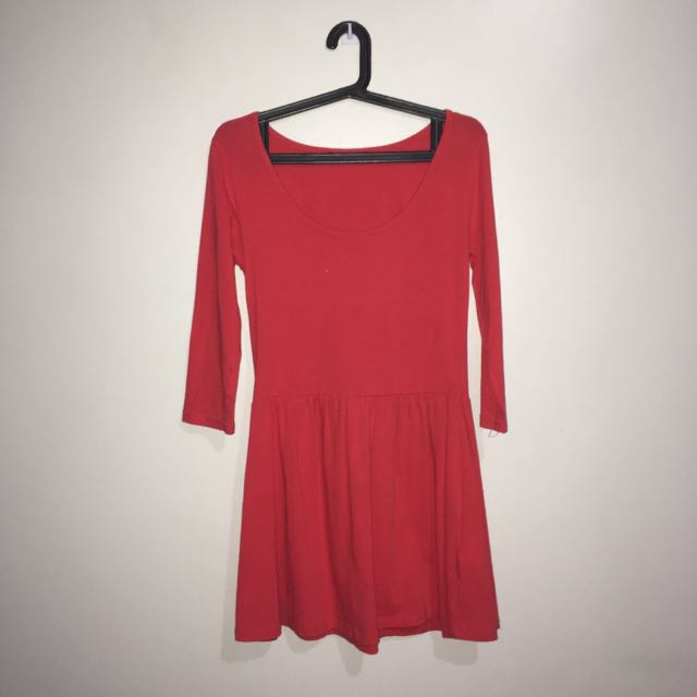FB Sister Scoop Neck Dress (Red Orange)