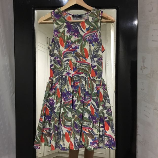 Floral Abstract Cotton Skater Dress