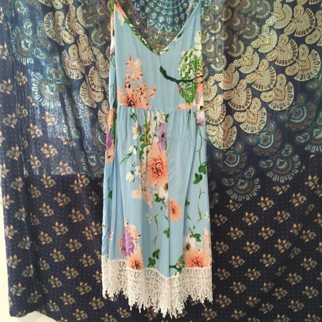 Floral Play suit With Lace Trim
