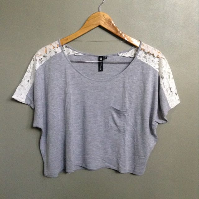 Gray/White Crop Top from Cotton On