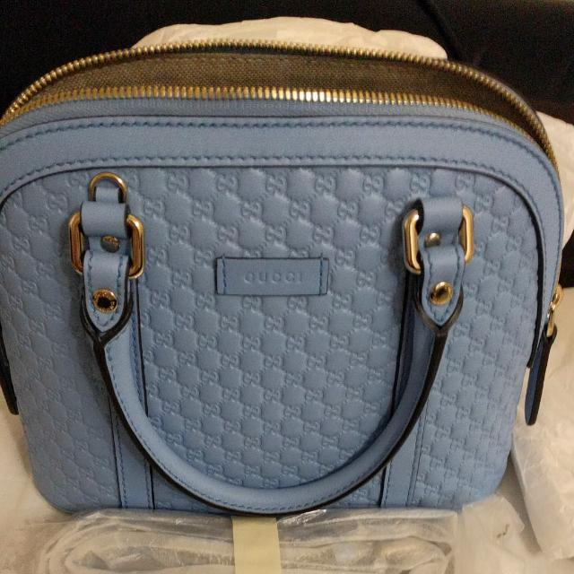 91c7fcaaf94b Authentic Gucci Micro GG Leather Convertible Mini Dome Purse Baby Blue,  Women's Fashion, Bags & Wallets on Carousell