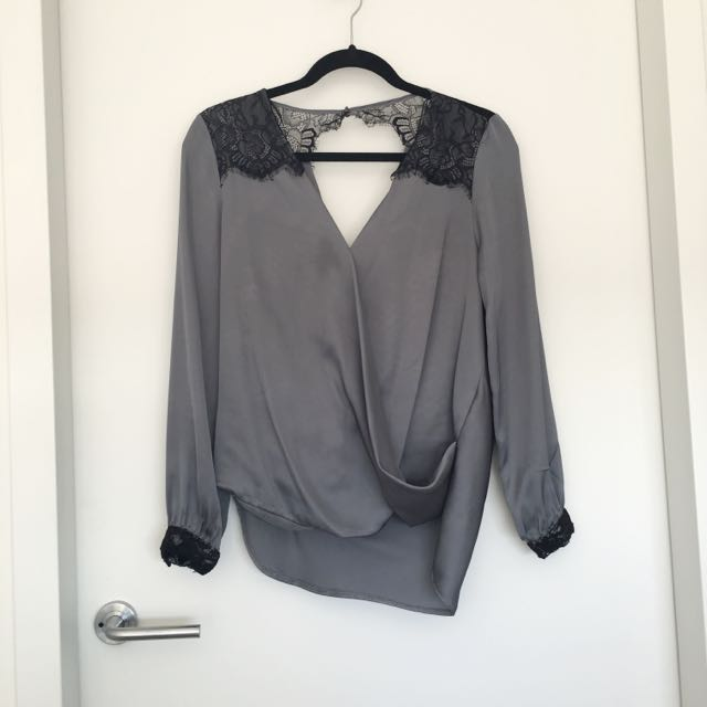 LIPSY Size 6 Wrap Front Top With Lace Detail