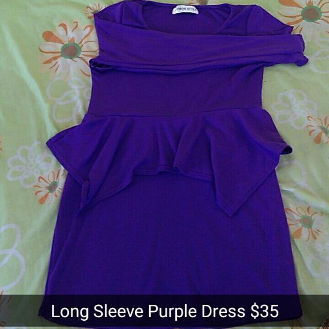 Long Sleeve Purple Dress