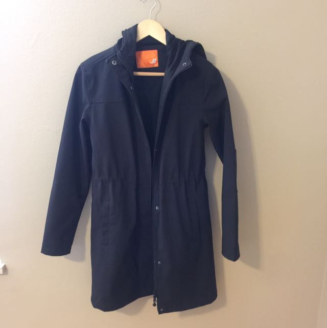 Long Waterproof Hooded Black Coat Size Small
