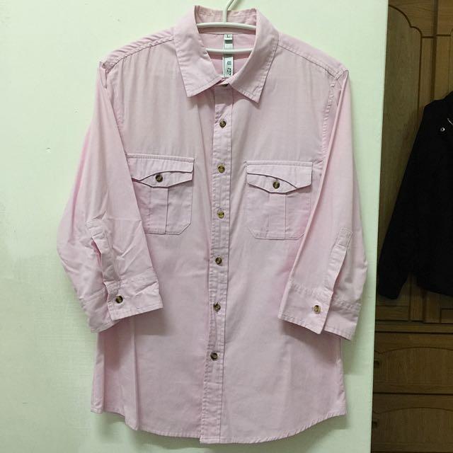 粉色七分袖襯衫(pink T-shirt))