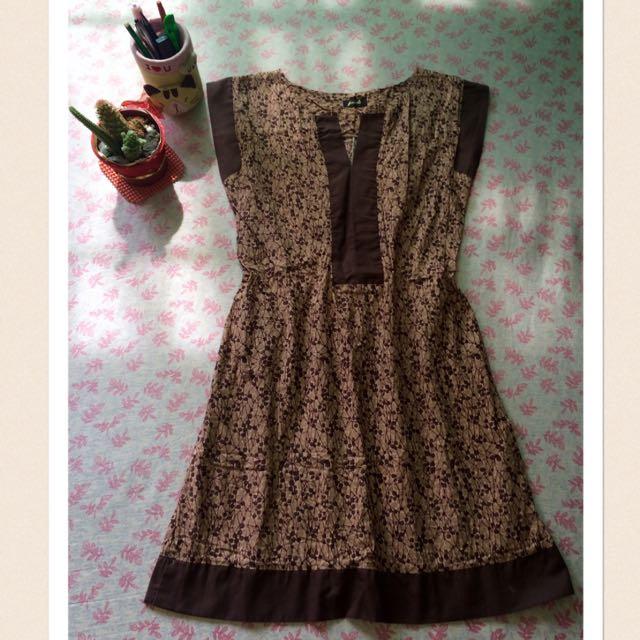 """PreLoved """"Brown Printed Dress"""""""