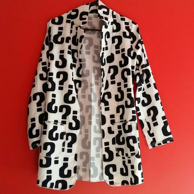 Question Mark Design Slim Fit Ladies Jacket