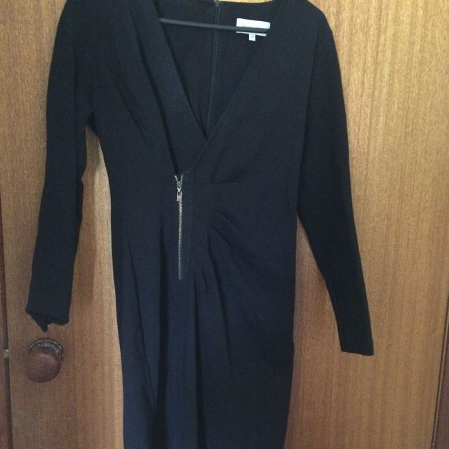 Size 12 Veronika Maine Black Fitted Dress