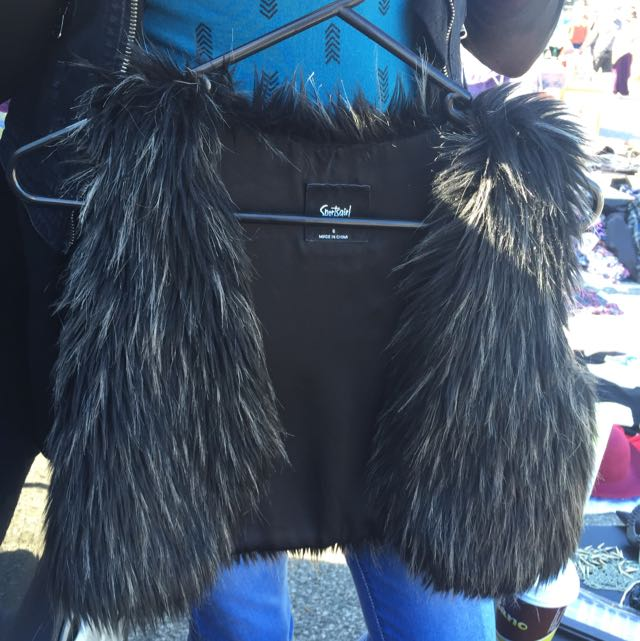 Sportsgirl Black Fur Crop Vest